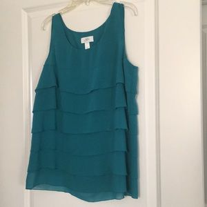 Teal ruffle blouse.